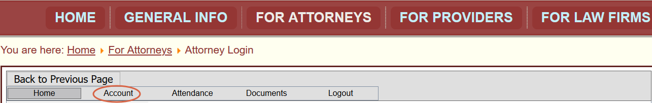 Atty Account tab